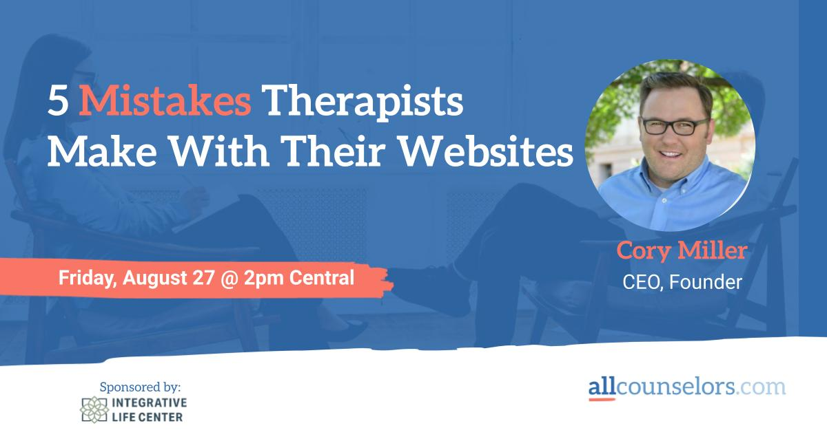 5 Mistakes Therapists Make With Their Websites informational slide